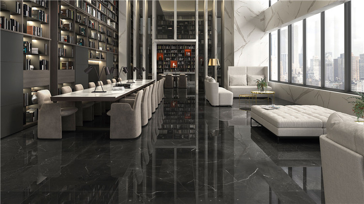 Nero Marquina Mable floor tiles