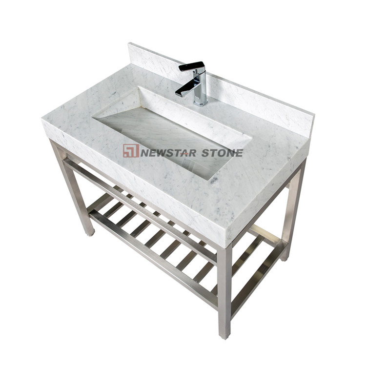 Bianco Carrara Marble Vanity Sink from Newstar Stone