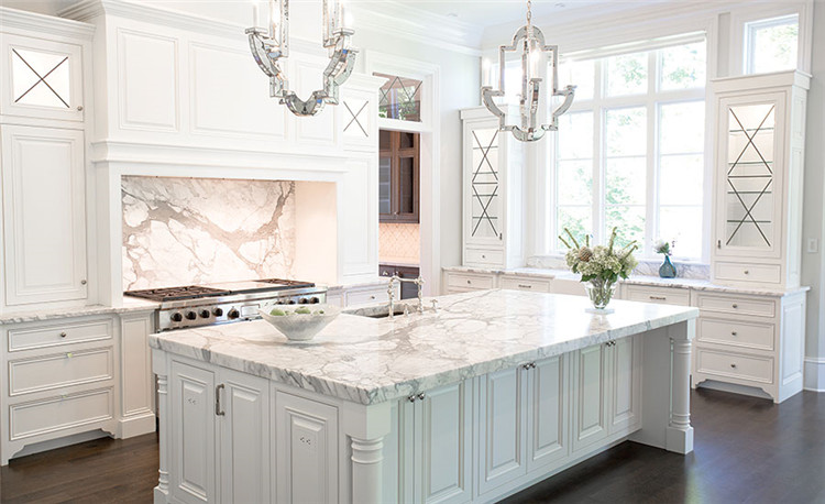 Calacatta white marble countertops for kitchen