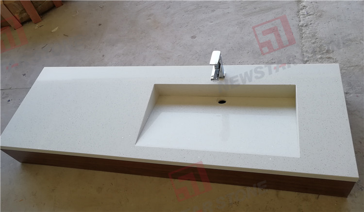 white galaxy quartz vanity sink