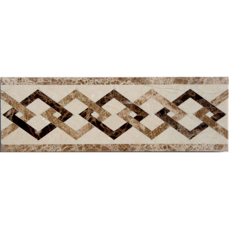 Border Mosaics Beige And Brown Spain Marble Bathroom Wall